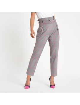 Petite Pink Check Paperbag Tapered Trousers by River Island