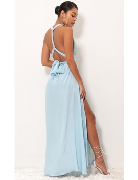 Samara Maxi Dress In Satin Blue by Lucy In The Sky