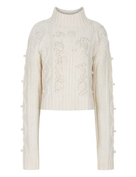 Cropped Wool Cable Knit by Joseph