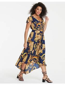 Ax Paris Curve Scarf Print Dip Back Maxi Dress by Ax Paris