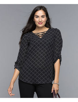 Rolled Sleeve Cross Neck Blouse by Ricki's