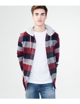 Long Sleeve Hooded Plaid Woven Shirt by Aeropostale