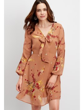 Slit Sleeve Floral Tie Neck Dress by Maurices