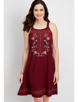 Floral Embroidered Tank Dress by Maurices
