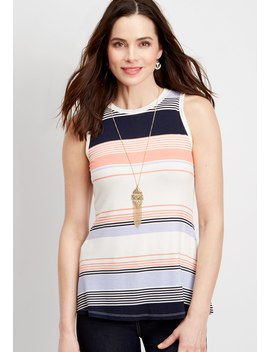 24/7 Striped High Neck Tank by Maurices