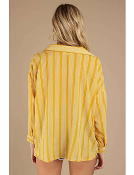 Knot The Same Yellow Striped Shirt by Tobi