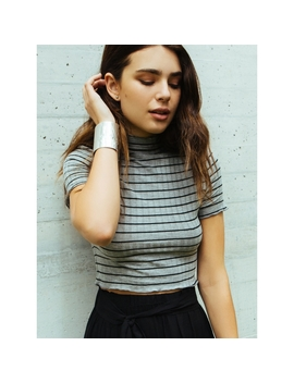 Crest Crop Mock Neck Stripe Tee In Gray by Wet Seal