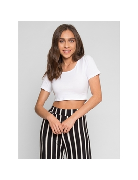 On Top Crop T Shirt In White by Wet Seal
