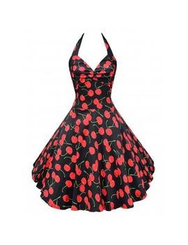 """<P>Vintage Halter Cherry Print Backless Swing Dress</P><I Class=""""Icon Down Js Tap Up Down""""></I> by Dress Lily"""