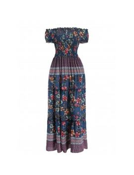 """<P>Floral Print Smocked Maxi Dress</P><I Class=""""Icon Down Js Tap Up Down""""></I> by Dress Lily"""