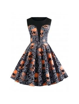 """<P>Halloween Round Neck Skull And Floral Print Vintage Dress</P><I Class=""""Icon Down Js Tap Up Down""""></I> by Dress Lily"""