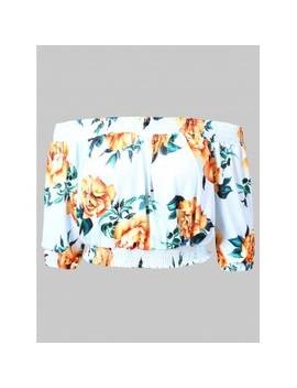 """<P>Off Shoulder Floral Cropped Blouse</P><I Class=""""Icon Down Js Tap Up Down""""></I> by Dress Lily"""