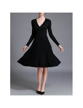 """<P>Long Sleeve High Waist Pleated Dress</P><I Class=""""Icon Down Js Tap Up Down""""></I> by Dress Lily"""