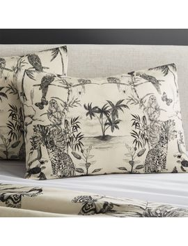 Midnight Jungle Linen Standard Shams Set Of 2 by Crate&Barrel
