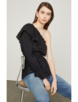 One Shoulder Floral Embroidered Top by Bcbgmaxazria