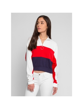 Aesthetic Zip Up Colorblock Sweater In Red by Wet Seal