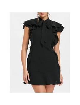 "<P>Tie Neck Ruffle Mini Sheath Dress</P><I Class=""Icon Down Js Tap Up Down""></I> by Dress Lily"