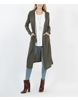 Dark Olive Side Pocket Open Cardigan   Women by Zulily