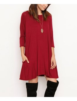 Burgundy Three Quarter Sleeve Pocket Tunic Dress   Women by Egs By éloges