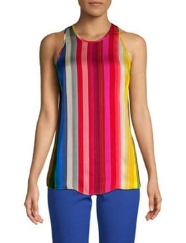 Rainbow Print Georgette Tank Top by Milly