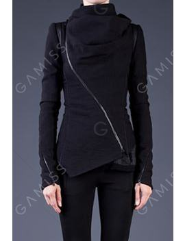 Stylish Cowl Neck Long Sleeve Zippered Women's Leather Trim Jacket by Gamiss