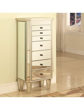 Mirrored Jewelry Armoire With Silver Wood Finish by Powell
