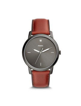 The Minimalist Carbon Series Three Hand Smokey Amber Leather Watch by Fossil