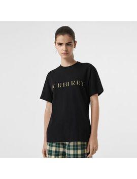 Check Logo Cotton T Shirt by Burberry