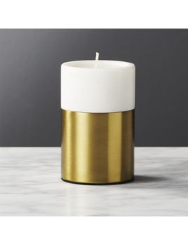 Ava Brass And Marble Tea Light Candle Holder by Crate&Barrel