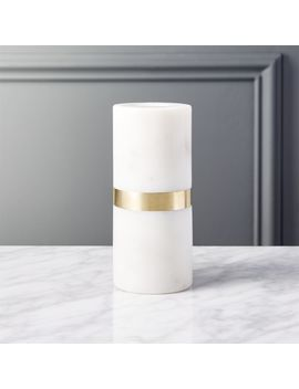 Ava Marble Brass Taper Candle Holder by Crate&Barrel