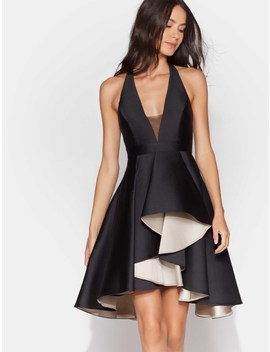 Colorblock Dress With Dramatic Skirt by Halston