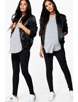 Maternity 2 Pack Over The Bump Legging by Boohoo