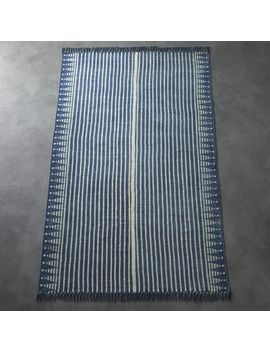 Verso Indigo Blue Striped Rug by Crate&Barrel