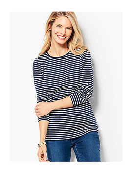 Long Sleeve Cotton Crewneck   Stripe by Talbots