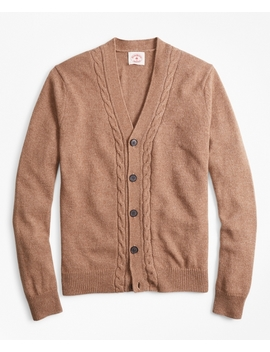 Alpaca Blend Cable V Neck Cardigan by Brooks Brothers