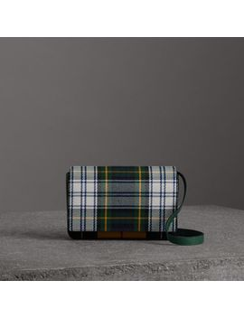Tartan And Leather Wallet With Detachable Strap by Burberry