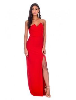 Red Notch Front Maxi Dress by Ax Paris