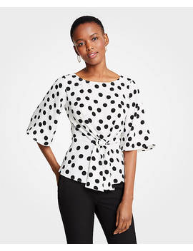 Dotted Tie Waist Flare Sleeve Top by Ann Taylor