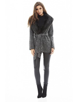 Tie  Belt  Fur  Collar Coat by Ax Paris