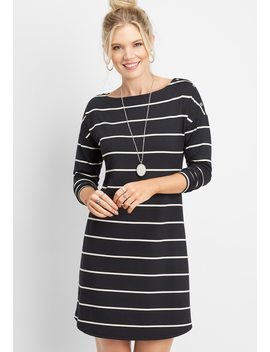 24/7 Stripe Snap Shoulder Dress by Maurices