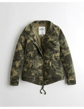 Stretch Camo Twill Shirt Jacket by Hollister