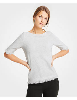 Fringe Short Sleeve Sweater by Ann Taylor
