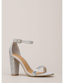 Shimmer Chunky Metallic Jeweled Heels by Go Jane