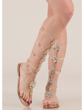 My Jewels Metallic Gladiator Sandals by Go Jane