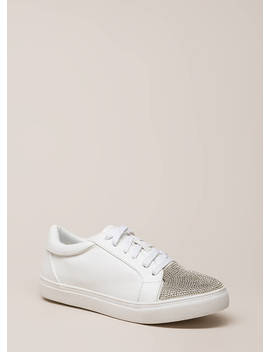 Bling It Jeweled Faux Leather Sneakers by Go Jane