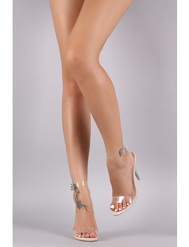 Transparent Open Toe Crisscross Ankle Strap Stiletto Heel by Urbanog