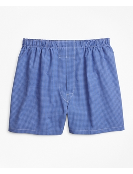 Traditional Fit Ground Check Boxers by Brooks Brothers