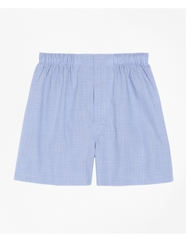 Traditional Fit Mini Check Boxers by Brooks Brothers
