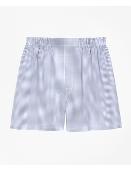 Traditional Fit Small Check Boxers by Brooks Brothers