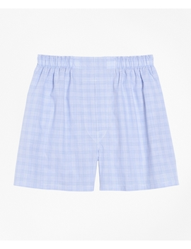 Traditional Fit Glen Plaid Boxers by Brooks Brothers